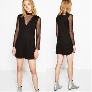 Zara Woman Plumetis Sheer Sleeve High Collar Dress